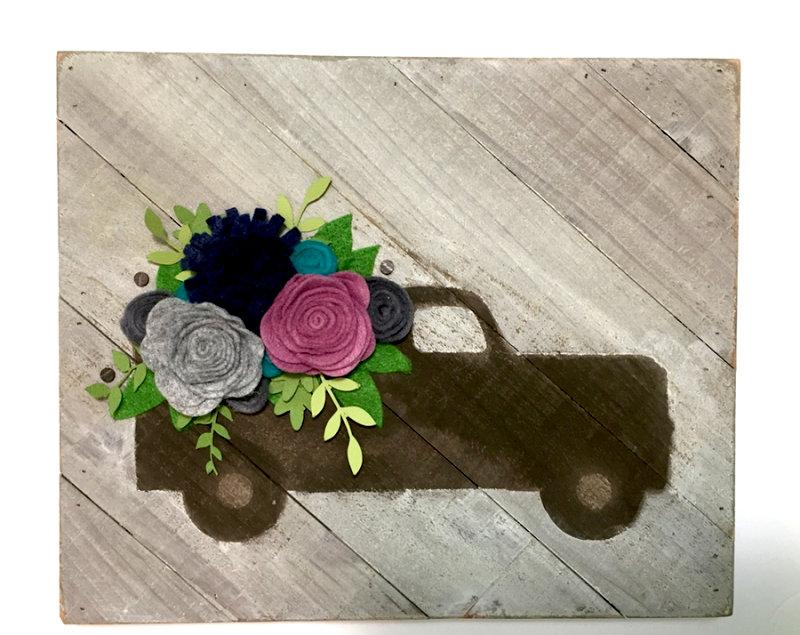 Flowers in my Truck Wood Plank