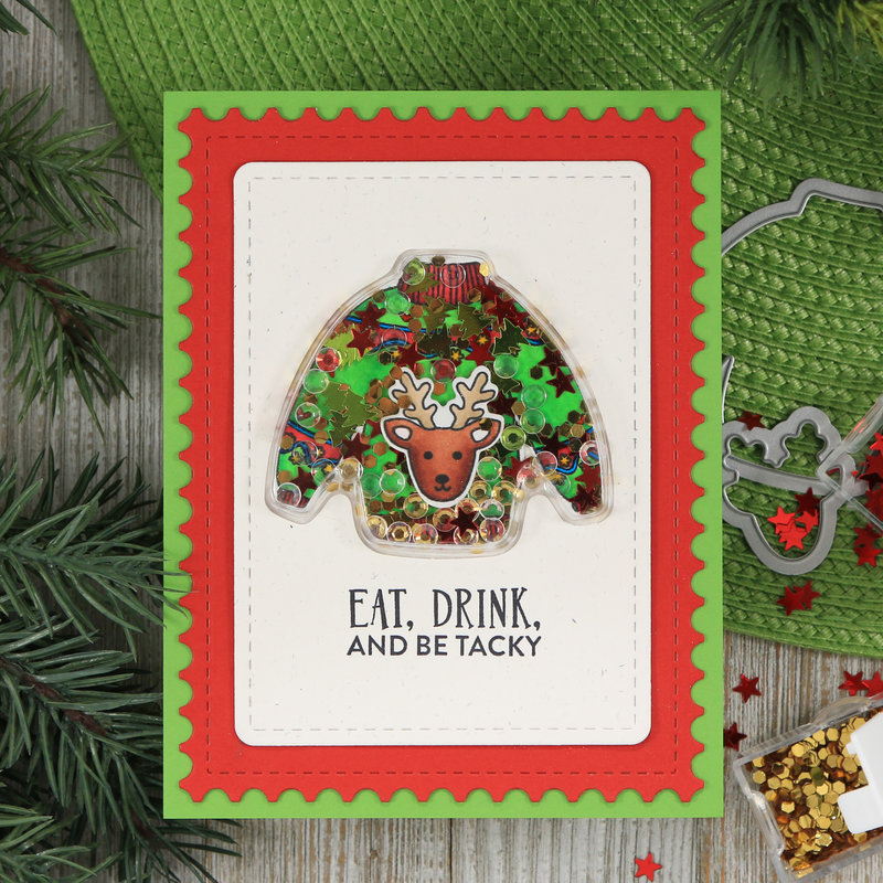 Tacky Sweater Christmas Shaker Card *Jillibean Soup*