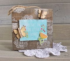Delight Stamped Wood Plank by Kimberly Crawford