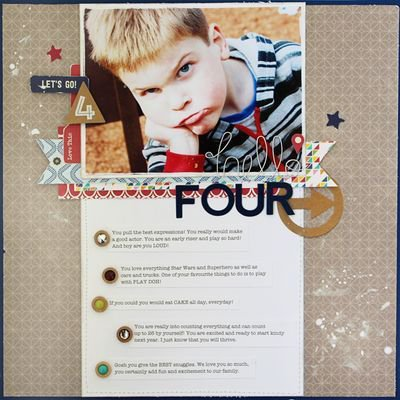 Hello Four layout by Gail Lindner