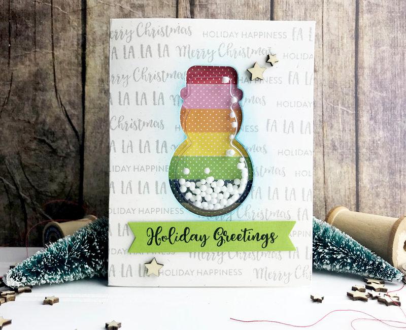 Holiday Greetings Snowman Shaker Card *Jillibean Soup*