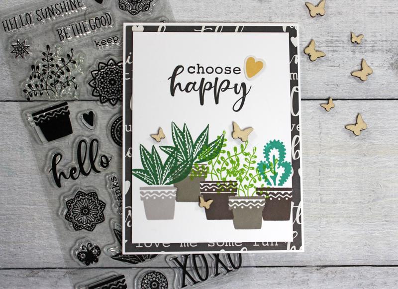 """""""Choose Happy"""" Succulent Card *Jillibean Soup*"""