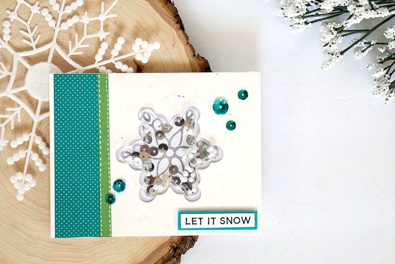 """Let It Snow"" Snowflake Shaker Card *Jillibean Soup*"