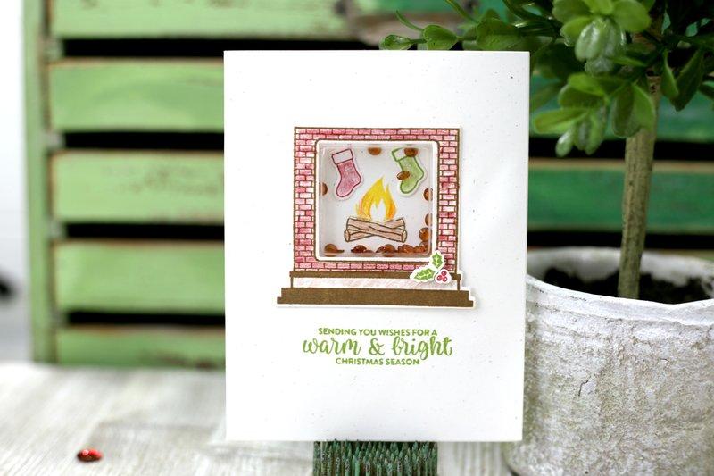 Merry & Bright Fireplace Shaker Card *Jillibean Soup*