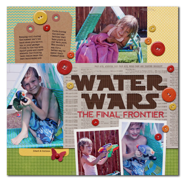 Water Wars by Summer Fullerton featuring Jillibean Chipboard Buttons with Epoxy Accents