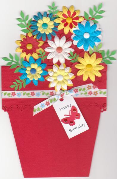 Bright flowerpot card