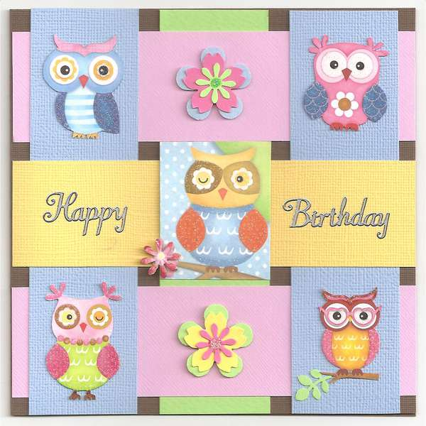 % Owls birthday card for Ciara