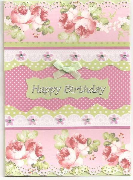 Roses and spots birthday card