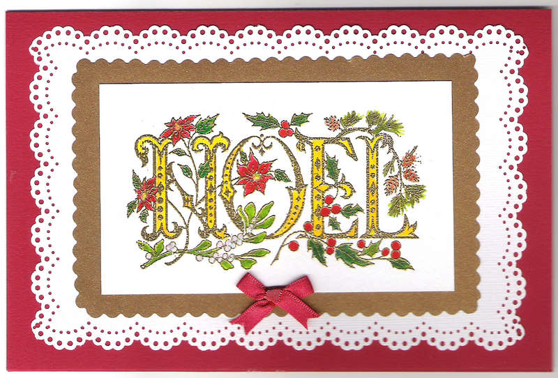 Noel card with bow