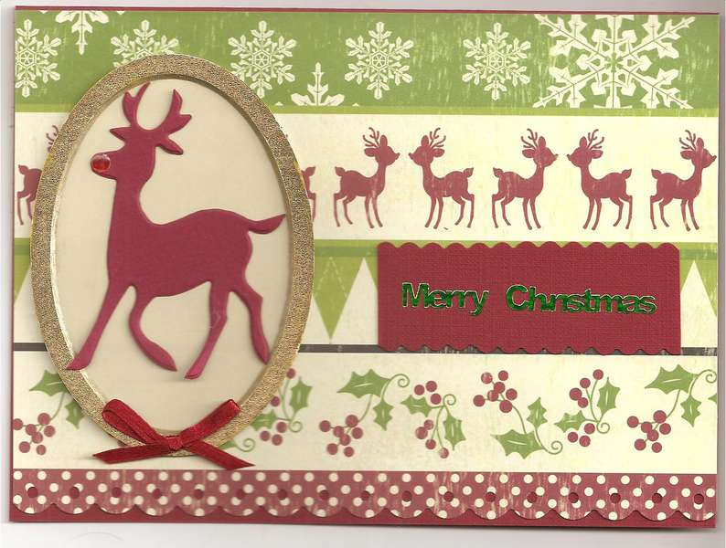 Reindeer and holly card