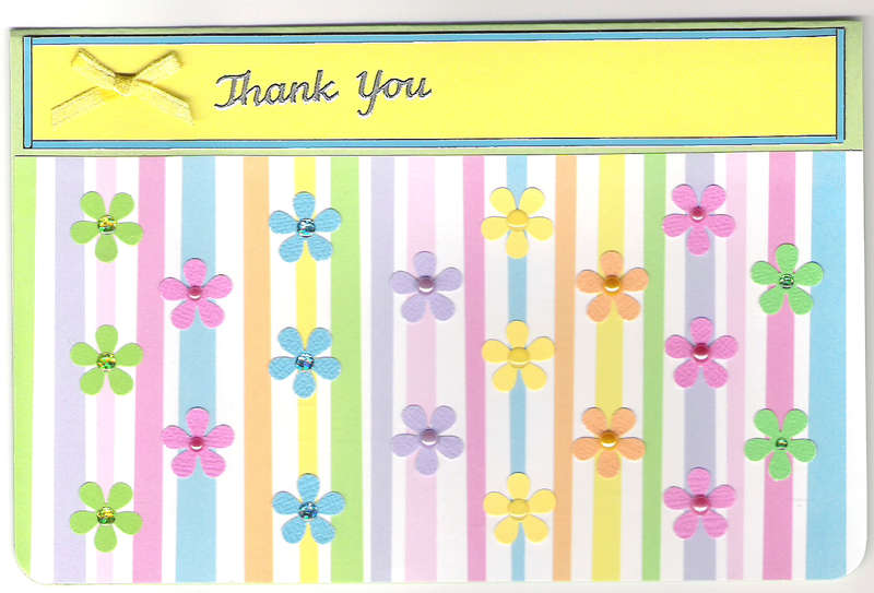 Stripes & Flowers Thank You card