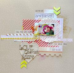 Love, Cherish, Adore. A Scrap FX chipboard DT page