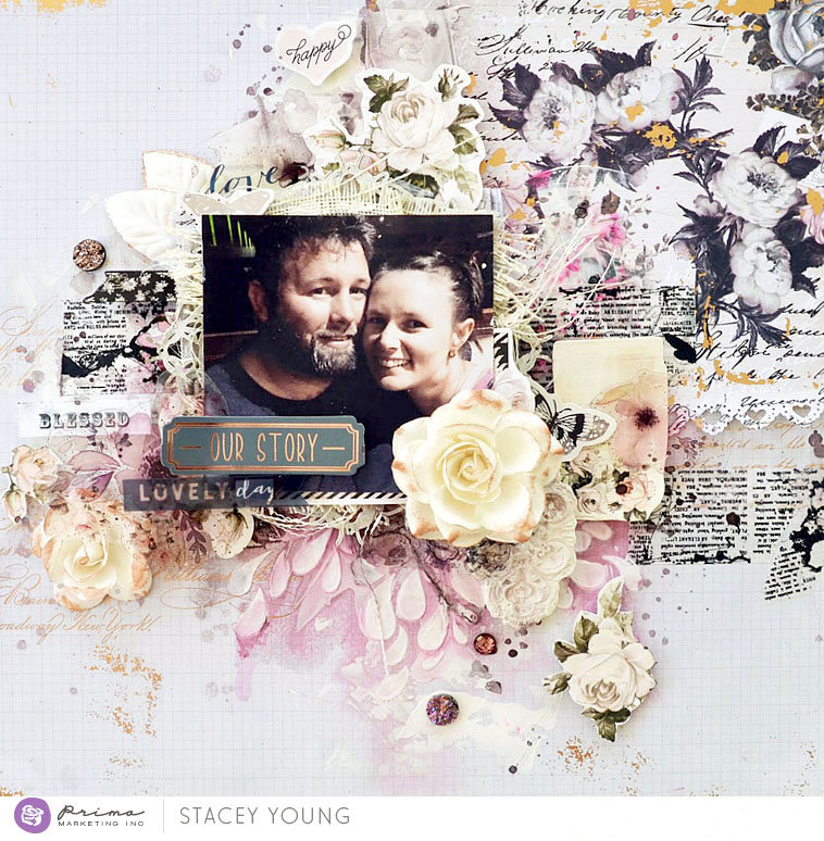 Vintage Floral Layout by Stacey Young