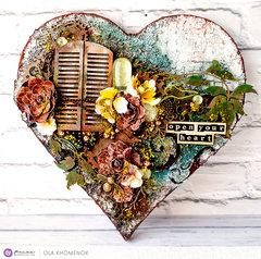 Mixed-Media Heart by Ola