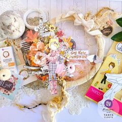 Julie Nutting Mandy Doll + Pumpkin and Spice Collection Altered Embroidery Hoop by Tanya Cloete