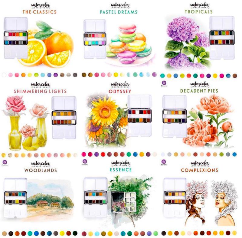 Prima Watercolor Confections Color Chart