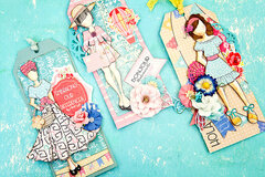 Julie Nutting Traveling Girl Ephemera Tags