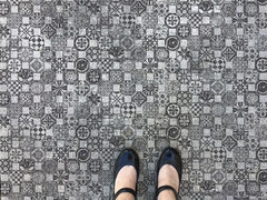 Mosaico Floor with Iron Orchid Design Stamps
