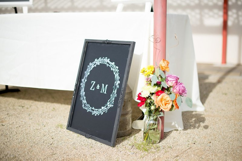 Wedding Initials Chalkboard with Iron Orchid Design Stamps