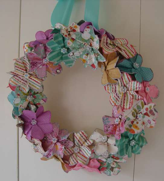 """snowy day"" paper flower wreath"