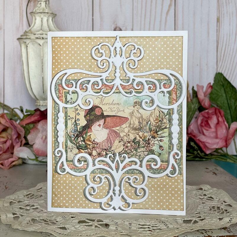 Layered Die Cuts - Vintage Lady Card