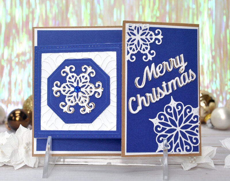 Merry Christmas Blue Snowflake Waterfall card
