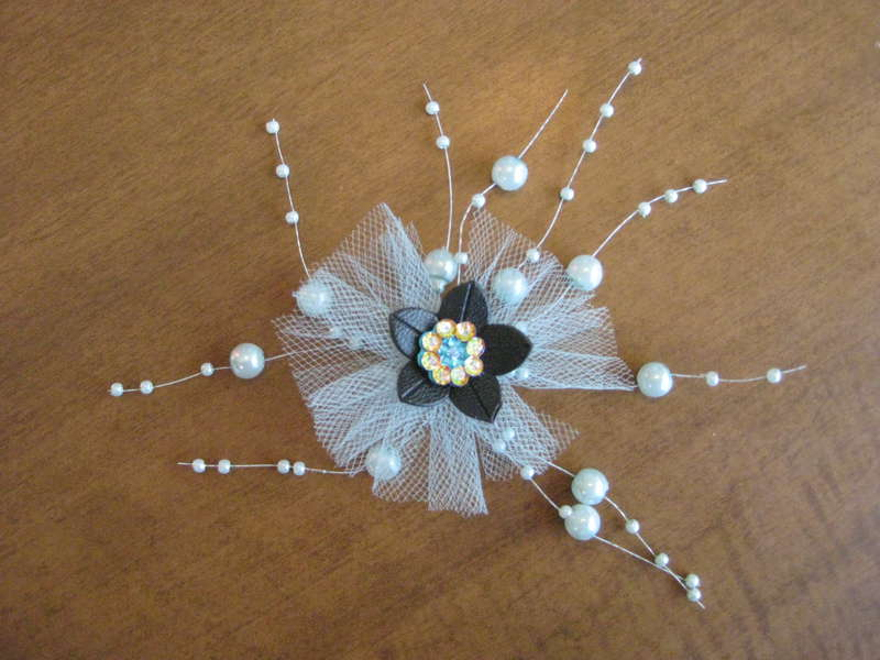 tulle and bead flower