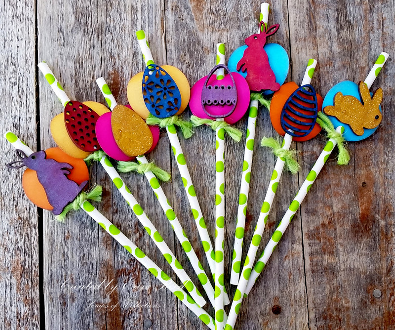 Decorative Easter Straws and Holder **Xyron & Die-namites & Canvas Corp & Tattered Angels**