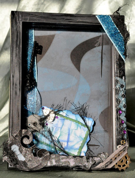 Grungy Black and Blue 4x6 Scrapbooked Steampunk Picture Frame