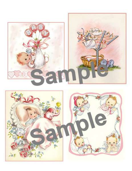 Vintage Baby tags Collage Sheet