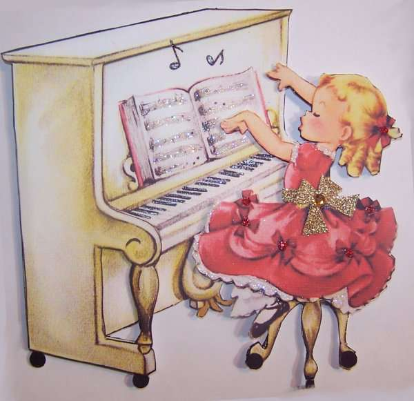 Vintage Girl playing Piano Card Topper