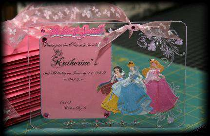 Acrylic princess invitation