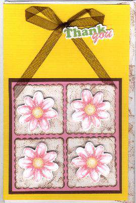 Flower Squares Thank You Card