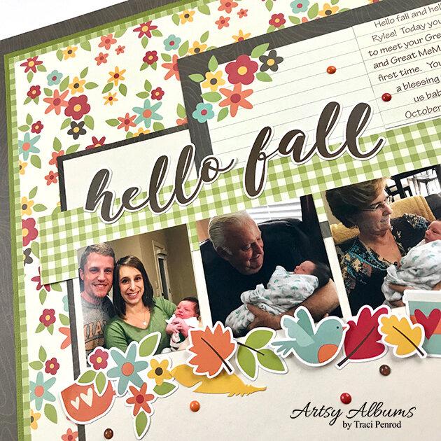 12x12 Fall Scrapbook Page Layout