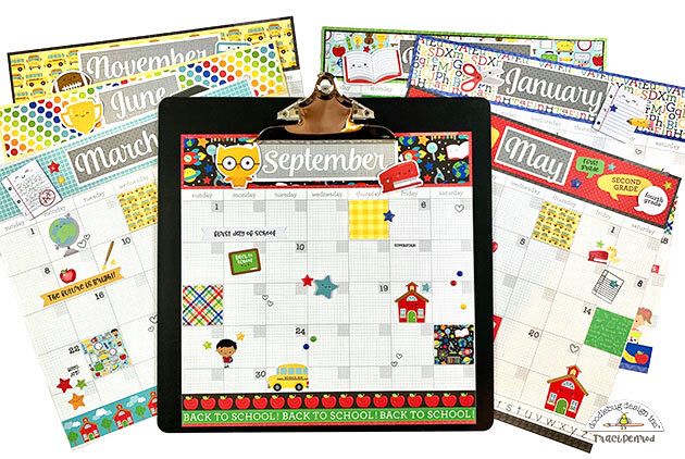 School Calendar with Doodlebug School Days