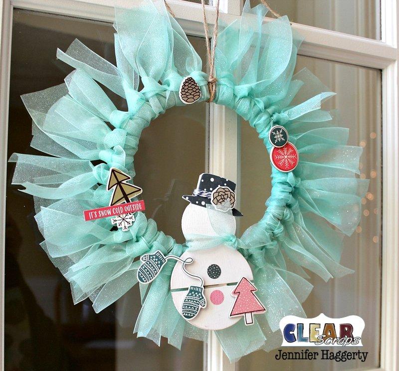 Snowman Mini Wood Pallet Wreath