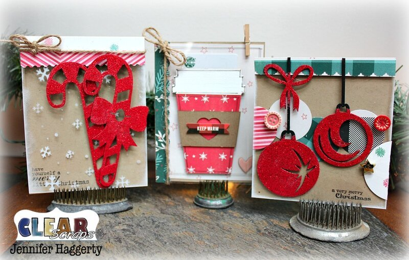 Christmas Cards with Clear Scraps Chipboard Embellishments