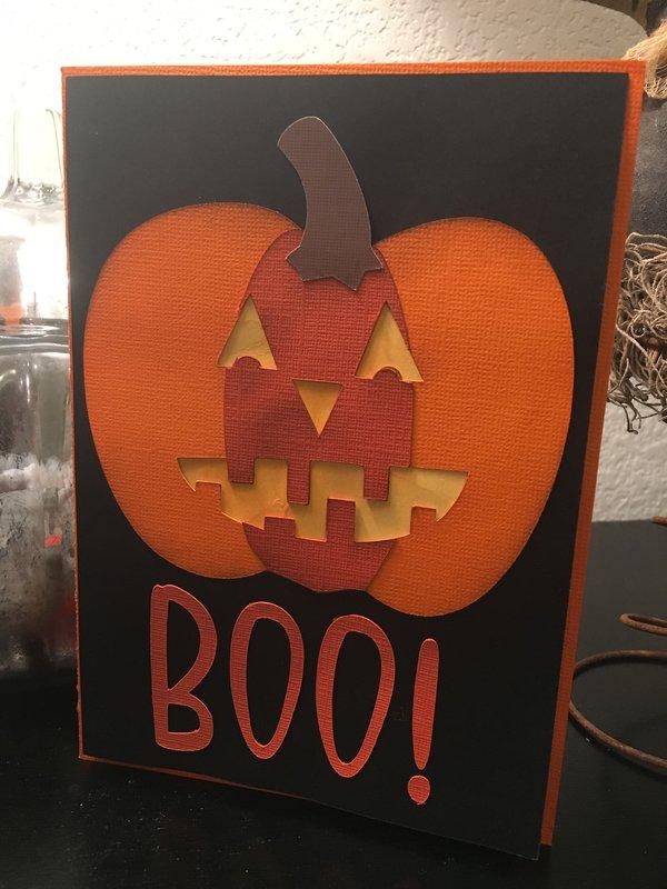 Boo! Light Up Pumpkin Card