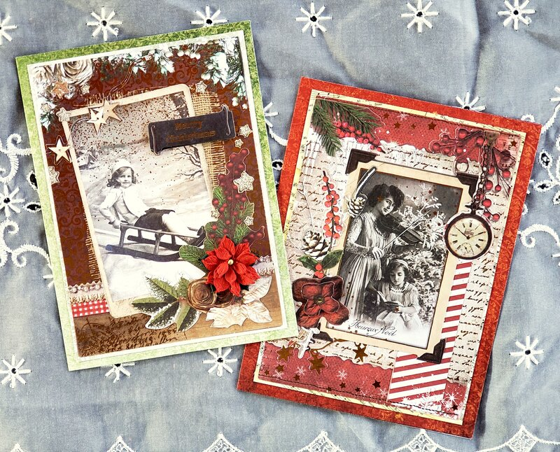 Vintage Christmas cards with matching tags #2