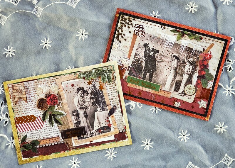 Vintage Christmas cards with matching tags #3