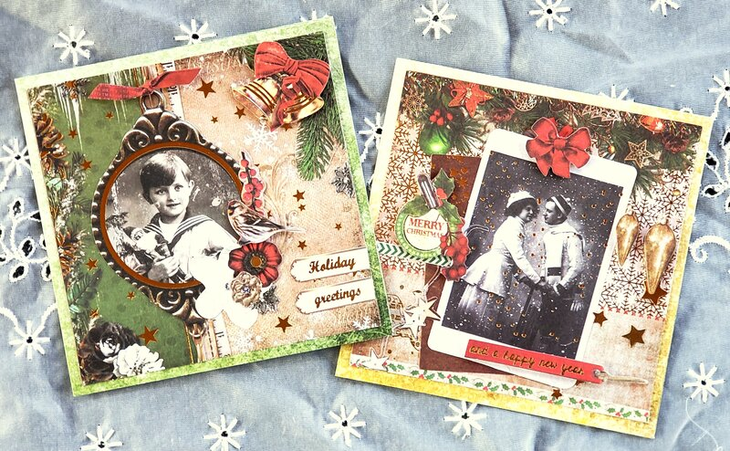 Vintage Christmas cards with matching tags #1