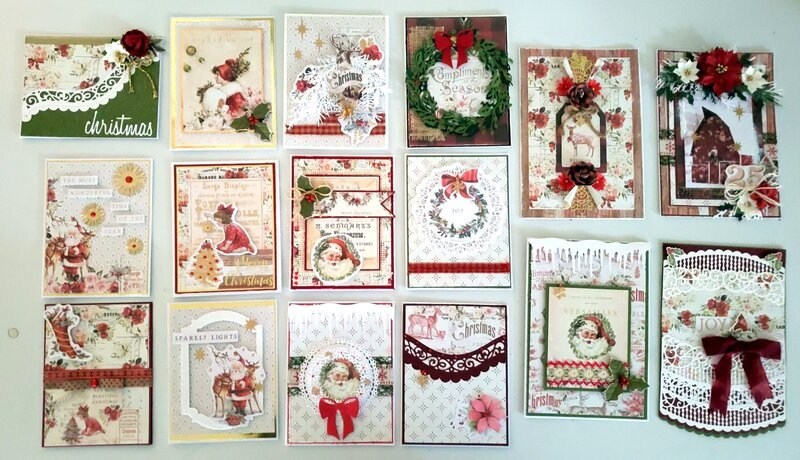 """16 Cards Prima's """"Christmas in the Country collection"""""""
