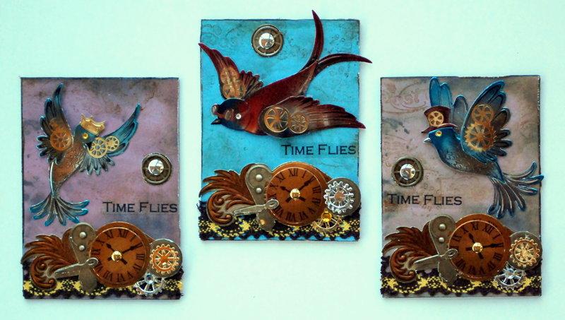 "Steampunk Mar-ATC-Swap-Flies in the sky ""Time Flies"""