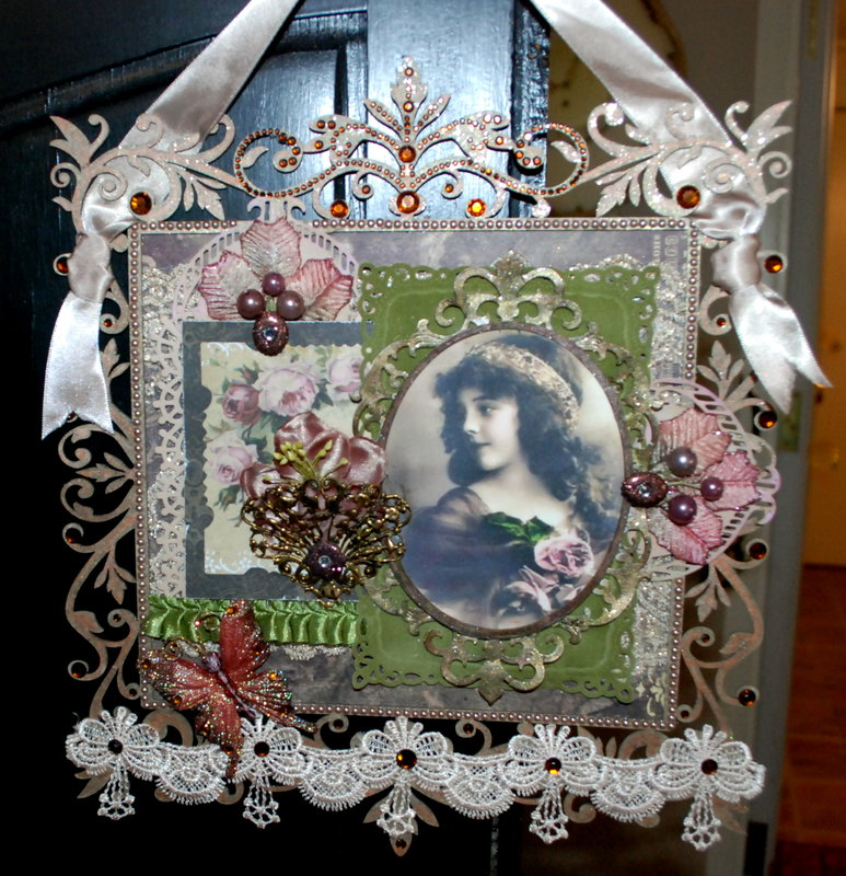 Vintage Victorian wall hanging Birthday card/Tag
