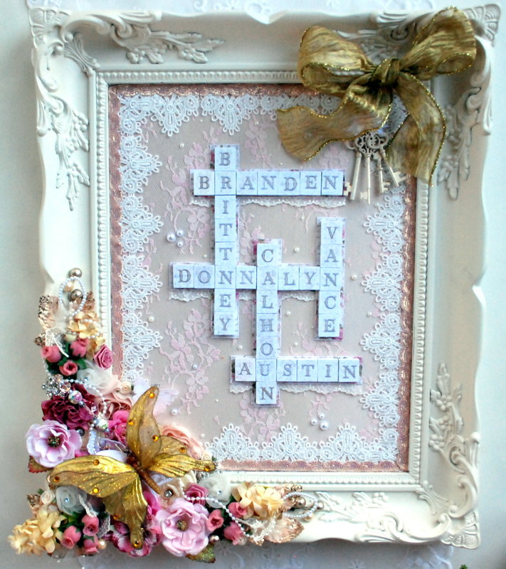 "Shabby Chic Victorian ""Keys To My Heart"" with Holiday trim"