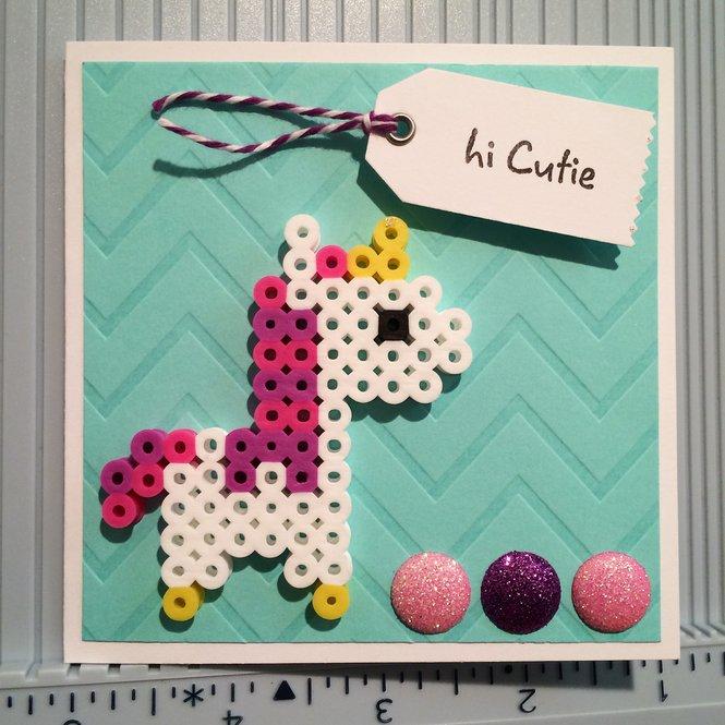 Id Card Beads: Card: Perler Bead Unicorn Card