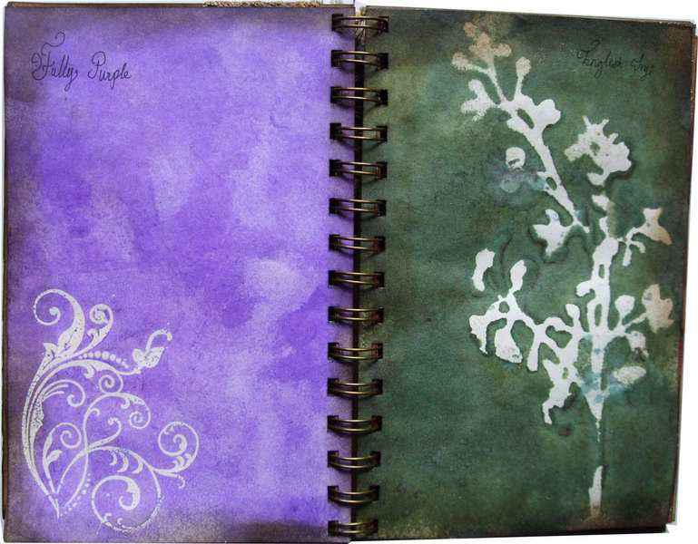 Glimmer mist colour chart album 5x7 Fully Purple and English Ivy