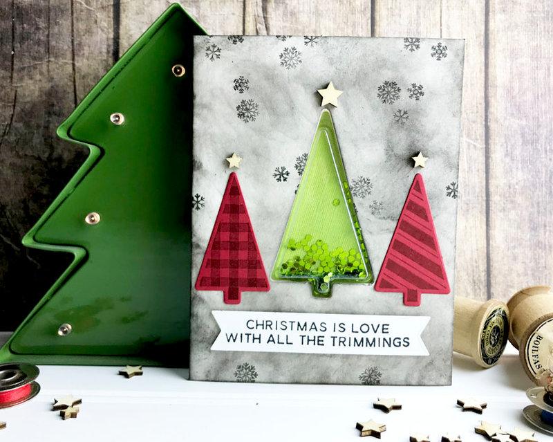 Christmas Trees Shaker Card