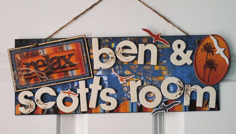 Boys room sign - Bo Bunny Paradise  :)