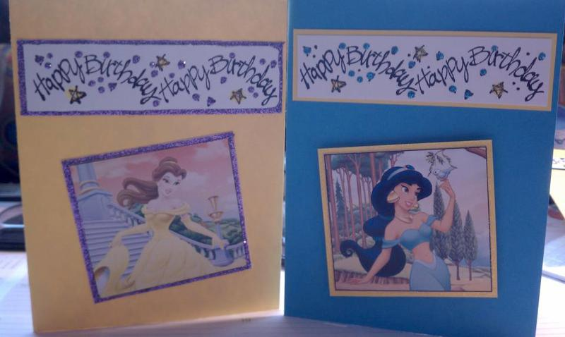 Belle and Jasmine Birthday Cards